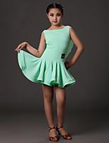 Latintanz-Kleider(Fuchsie / Hellgrün,Elastan,Latintanz) - fürKinder Kleid Ärmellos Normal