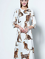 Boutique S Going out Sophisticated A Line Dress,Print Round Neck Midi ½ Length Sleeve White Polyester Summer