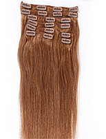 6# light Blonde Color Clips in Straight Brazilian Human Hair Machine Made Wefts Full Head Hair Extensions