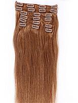 6 # luz clipes de cor loira no brasileiro máquina cabelo humano retas feitas tramas do cabelo extensões cabeça cheia