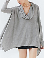 Women's Casual / Simple Spring / Fall Loose Fashion Blouse,Solid Asymmetrical Long Sleeve Black / Gray Polyester Medium