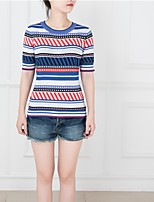 Women's Work Vintage Summer T-shirt,Geometric Round Neck Short Sleeve Blue Cotton Medium