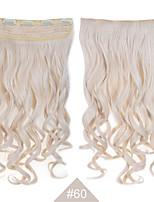 Clip sintético en extensiones de cabello rubio de pelo de 24