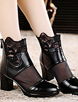 Sandals Spring / Summer / Fall Round Toe Leather Outdoor / Casual Chunky Heel Others Black