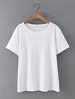 Women's Casual/Daily Simple Summer T-shirt,Solid Round Neck Short Sleeve White / Black Cotton / Linen Thin