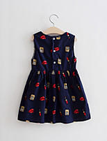 Girl's Casual/Daily Print Dress,Cotton Summer Blue / White