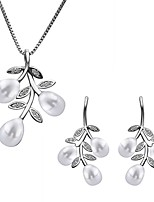 Platinum Plated diamond ball flower leaves pearl jewelry set for women party necklace/earring Bridal Jewelry Sets S030