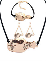 European Style Fashion Simple Metal Drift Bottles Lovers Necklace Bracelet Earring Set