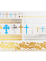 1pc Flash Metallic Waterproof Tattoo Gold Silver Crucifix Blue Flower Temporary Tattoo Sticker YH-035