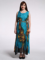 Women's Beach / Plus Size Boho Chiffon / Skater Dress,Animal Print Round Neck Maxi Sleeveless Green Spandex Summer