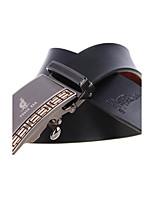 A4007-1 Men's Cowhide Belts Automatic Buckle High Grade Soft Leather Belt Black