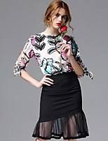 AFOLD® Women's Round Neck 3/4 Length Sleeve Shirt & Blouse White-5561