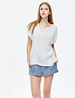 Women's Casual/Daily Simple Summer T-shirt,Solid Round Neck Short Sleeve White Polyester / Spandex Thin