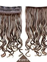 clipe sintético em 60 centímetros postiços 24inch encaracolados ondulados extensões de cabelo # 12/613 calor cor misturada resistente