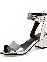 Women's Shoes Patent Leather Summer Open Toe Sandals Party & Evening / Dress Chunky Heel BucklePurple / Silver /