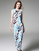 Boutique S Women's Going out Street chic Chiffon Dress,Print Round Neck Maxi Sleeveless Blue Polyester Summer
