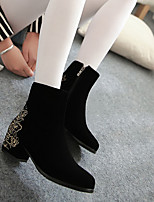 Women's Shoes Fleece Fall / Winter Combat Boots Boots Outdoor / Casual Chunky Heel Others / Zipper Black