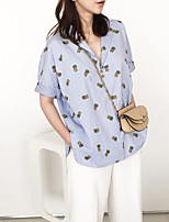 Women's Casual/Daily Cute Summer Blouse,Print V Neck Short Sleeve Blue Polyester Thin
