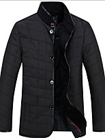Men's Regular Padded Coat,Cotton Solid Long Sleeve
