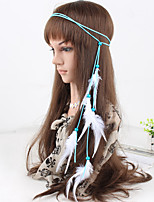 Women's Simple Fabric Feather Pendant Weave Headbands 1 Piece