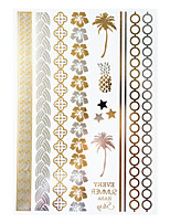 1pc Flash Metallic Waterproof Tattoo Gold Silver Pineapple Coconut Tree Temporary Tattoo Sticker YH-071