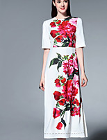Boutique S Women's Going out Sophisticated A Line Dress,Print Round Neck Midi ½ Length Sleeve White Polyester Summer