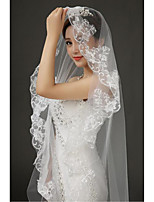 Wedding Veil One-tier Cathedral Veils Lace Applique Edge Tulle / Lace White
