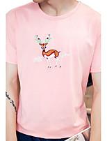 Masculino Camiseta Algodão Estampado Manga Curta Casual-Preto / Azul / Rosa / Branco
