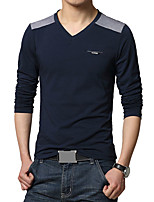 Men's Fashion Patchwork V Collar Casual Slim Fit Long-Sleeve T-Shirt, Cotton /Casual