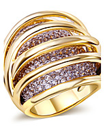 Rings Womens 18K Gold Platinum Wedding Fashion Jewelery Accessories Cubic Zirconia for Womens Copper Rings