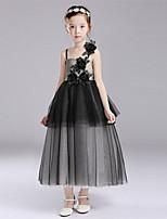 A-line Tea-length Flower Girl Dress-Cotton / Satin / Tulle Sleeveless