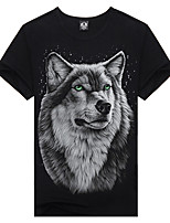 Popular Elements Man 3D Tide Printing Gray Wolf T-shirts