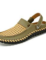 Sapatos Masculinos-Sandálias / Chinelos e flip-flops-Marrom / Taupe / Caqui-Pele-Casual