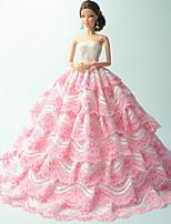 Poupée Barbie-Rose-Soirée & Cérémonie-Robes- enOrganza / Dentelle