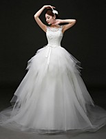 Ball Gown Wedding Dress Court Train Scoop Lace / Tulle with Bow / Sash / Ribbon / Appliques / Beading