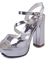 Women's Shoes Leatherette Summer Heels / Peep Toe Sandals Office & Career / Casual Chunky Heel Hollow-outSilver