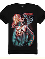Men's Summer Popular Personality Cotton Skeleton Play Basketball Design T-shirts