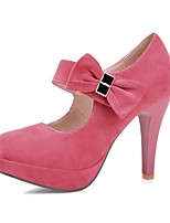 Women's Shoes Fleece Stiletto Heel Heels / Round Toe Heels Party & Evening / Dress Black / Pink / Purple / Almond
