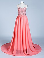 Formal Evening Dress A-line Sweetheart Court Train Chiffon with Beading /Lilac/ Red /Royal Blue