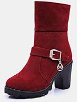Women's Boots Fall / Winter Fashion Boots Fleece Casual Flat Heel Others Black / Red
