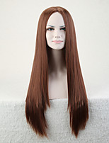 Capless Brown Color High Quality Natural Straight Synthetic Wig