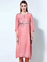 Boutique S Women's Going out Sophisticated Loose Dress,Print Stand Midi ¾ Sleeve Pink Linen / Rayon Spring / Summer
