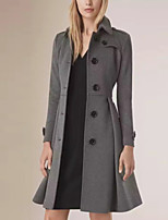 Women's Casual/Daily Simple Trench Coat,Solid Shirt Collar Long Sleeve Fall / Winter Gray Cotton Medium