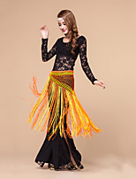 Belly Dance Women Outfits 3 Pcs(Tops+Pants+Hip Scarf) No Headpieces Crystal Cotton Tassel  Black/Purple/Red/Royal Blue