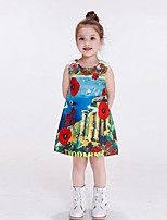 Girl's Multi-color Dress,Rainbow Cotton / Rayon Summer / Winter / Spring / Fall