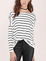 Women's Casual / Simple Spring / Fall Loose T-shirt,Striped Round Neck Batwing Sleeve Long Sleeve White Cotton Medium