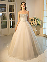 Formal Evening Dress Ball Gown Strapless Floor-length Tulle with Beading / Crystal Detailing / Sequins