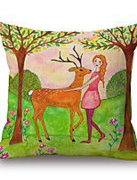 Cotton/Linen Pillow Cover,Novelty / Graphic Prints Modern/Contemporary / Casual