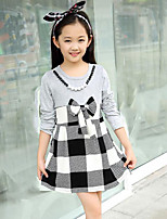 Girl's Casual/Daily Check Dress,Cotton Spring / Fall White / Gray