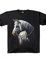 Men's 3D Short-sleeved Horse Animal Pattern Cotton O- Neck T-shirts